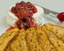 Bread Crisps with Wheel of Chevre Brie & Spiced Rhubarb Chutney