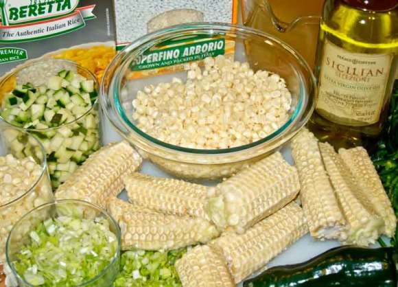 Ingredients Risotto of Sweet Corn with Corn Coulis, Zucchini, Chevre & Green Chile Oil