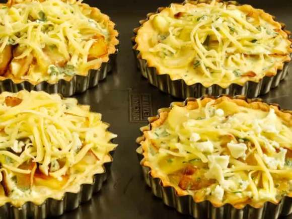 Caramelized Apple Onion Cheddar Blue Cheese Tarts Ready to Bake Savory Apple Tart with Onion, Cheddar & Blue Cheese