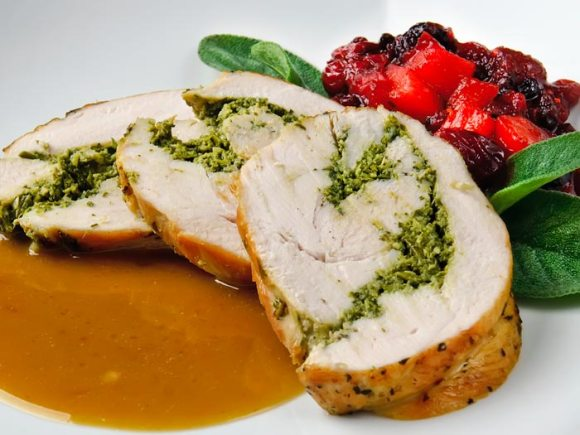 Sliced turkey1 Dry Cured Breast of Turkey Roulade with Autumn Herbs