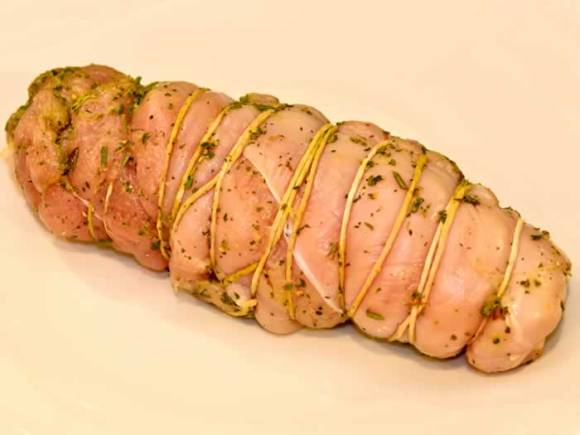 Trussed Turkey Breast Roast Ready to Sear Dry Cured Breast of Turkey Roulade with Autumn Herbs