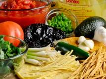 Mise-en-Place for Mexican Tortilla Soup with Frizzled Tortillas