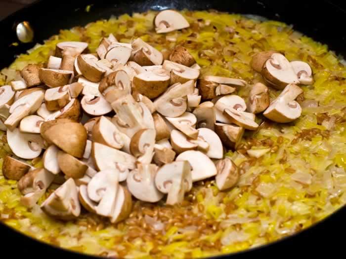 Adding Mushrooms to Farrotto