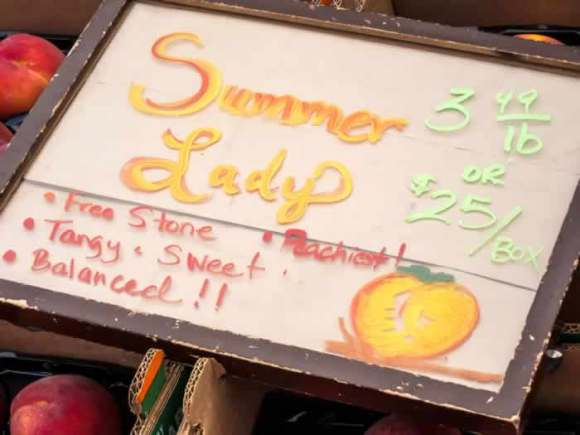 Summer Lady Peaches Sign Ginger Lime Peach & Blueberry Crisp with Toasted Hazelnut Streusel