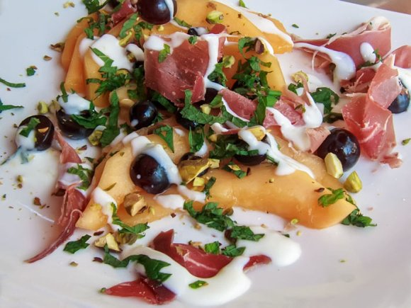 Wildwood shot Tuscan Melon & Blackberry Salad with Prosciutto & Yogurt Chevre Dressing