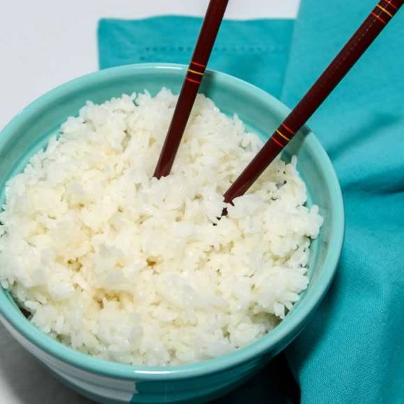 Cold Steamed White Rice in Bowl Home Style Chinese Fried Rice