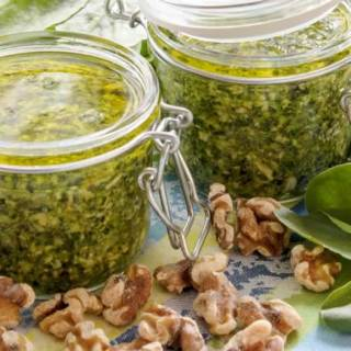 Fava Bean Greens, Walnut & Orange Pesto
