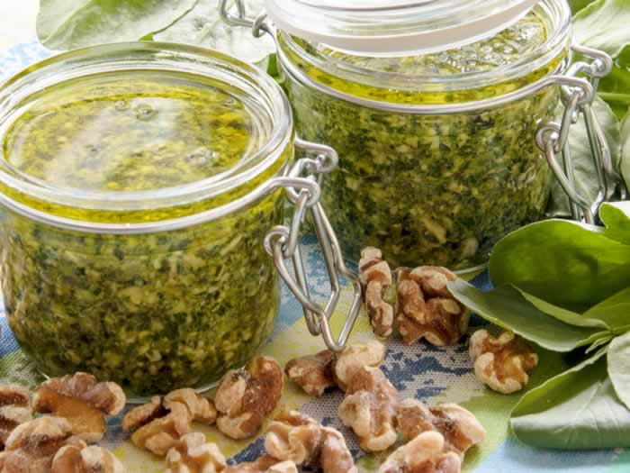 Fava Bean Greens, Walnut & Orange Pesto in Jars