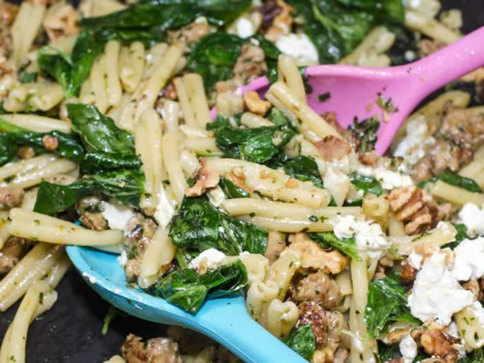 Strozzapreti Pasta with Fava Bean Greens Pesto, Spicy Italian Sausage & Toasted Walnuts Ready to Serve