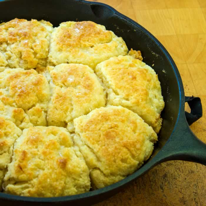 Heavenly Light Buttermilk Skillet Biscuits