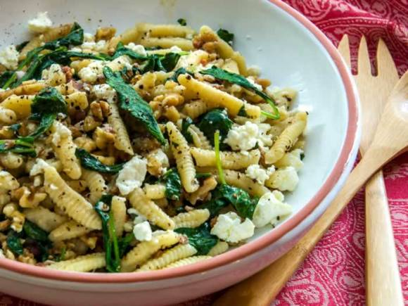 Cavatelli Pasta Serving Ricotta Cavatelli with Toasted Walnuts & Baby Greens