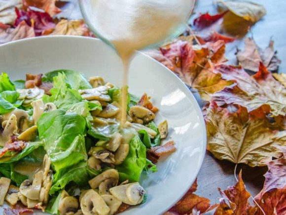 Warm Spinach Mushroom Salad with Applewood-Smoked Bacon Honey Dressing