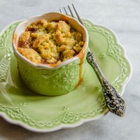 Rhubarb Lemon-Thyme Crumble with Cornmeal Streusel