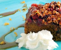 Spiced Pumpkin Sour cream Upside Down Cake with Caramelized Cranberry Hazelnut Topping and Orange Cream