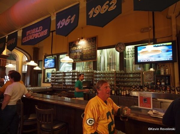 The bar at Titletown and someone who must spend a lot of time sitting at it.