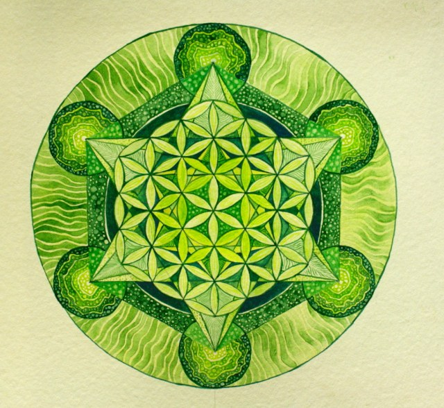 Metatron's Cube in Green by Stephanie Thomas Berry, and exploration of the sacred geometric form