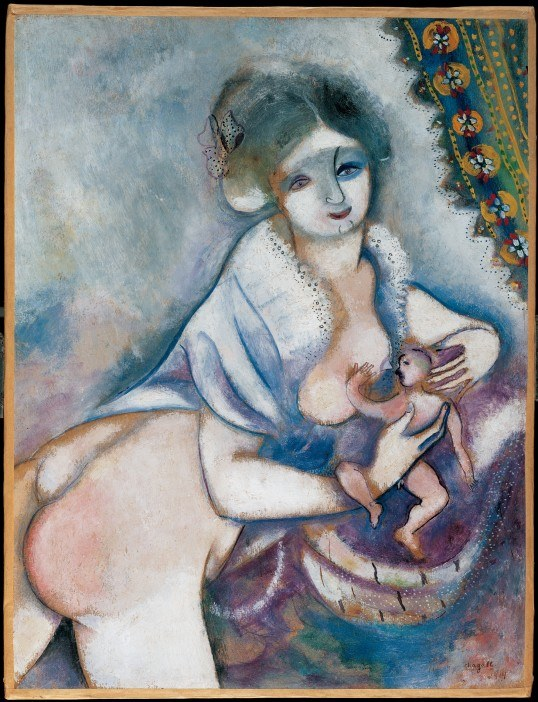 Marc Chagall [French, born Russia (present-day Belarus), 1887-1985]: Motherhood (Mutterschaft), 1914, Oil on canvas. Albertina, Vienna, Austria.