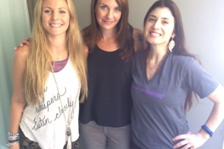 Rachel Brathen with Jen Pastiloff and Claire Bidwell, author of The Rules of Inheritance.