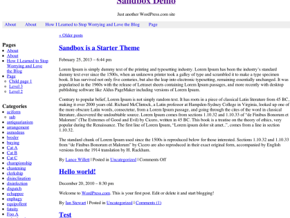 Sandbox 1.6.2 WordPress Theme