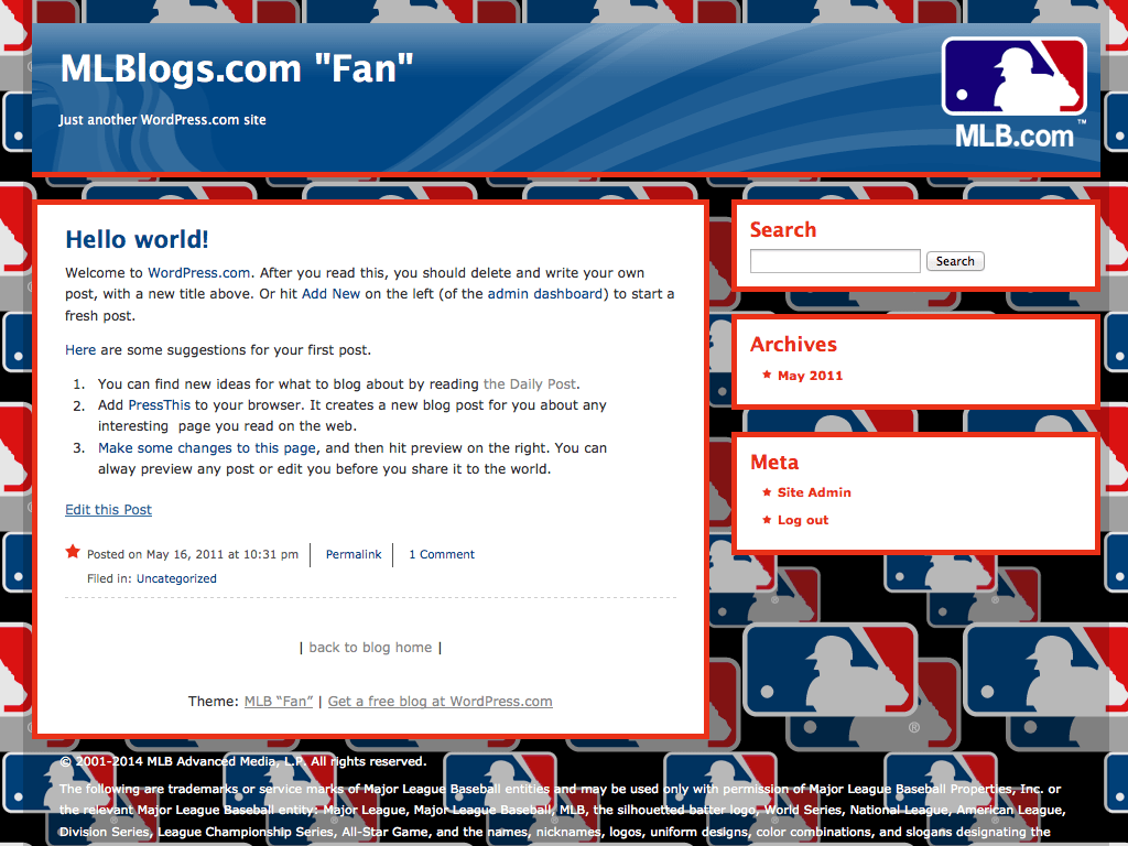 "MLB ""Fan"" WordPress Theme"