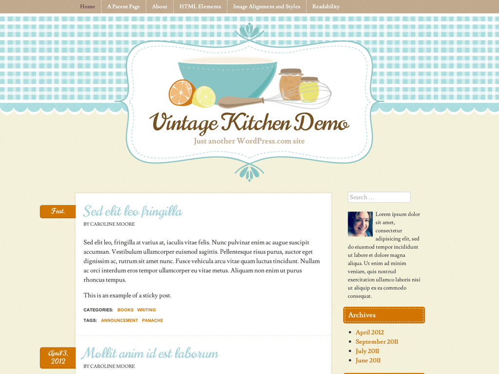 Vintage Kitchen WordPress Theme