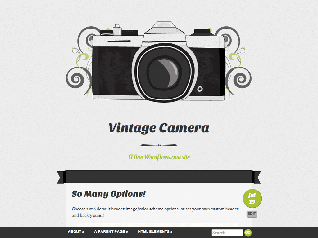 Vintage Camera WordPress Theme