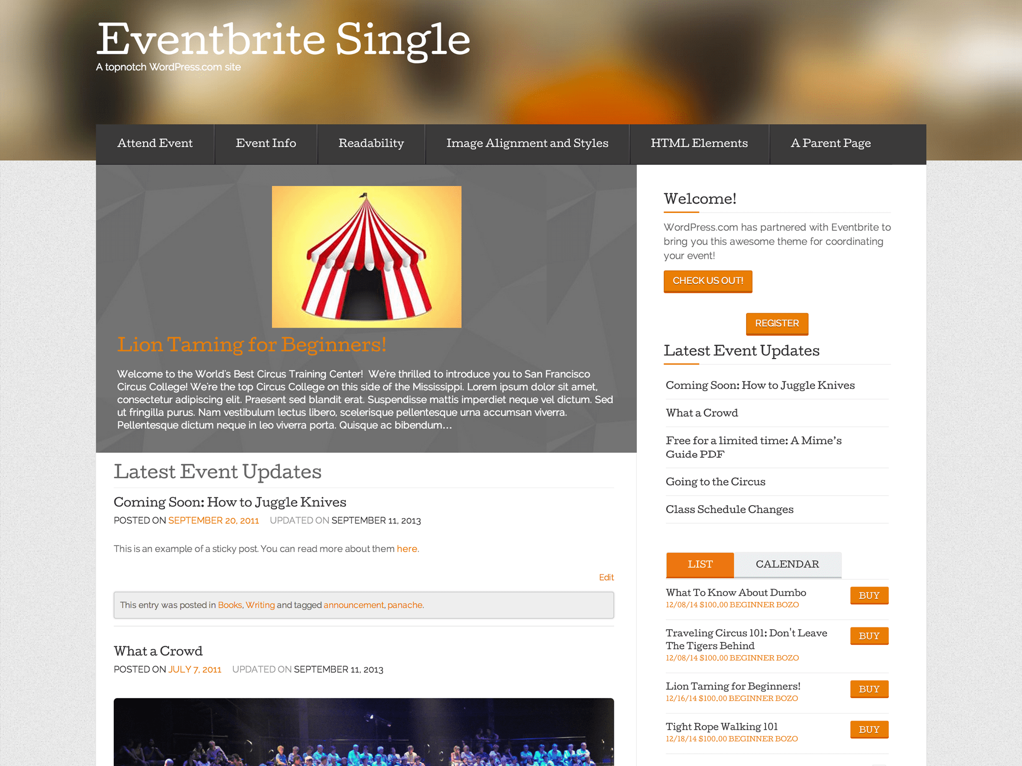 Eventbrite Single Event WordPress Theme