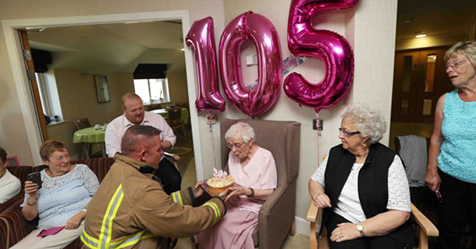 "This 105-Year-Old Woman Had Only One Birthday Wish – A ""Fireman With Tattoos"""