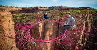 Thrill Seekers Suspend a Giant Hammock 400 Feet Above the Desert Floor