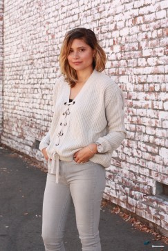 gray sweater with gray jeans