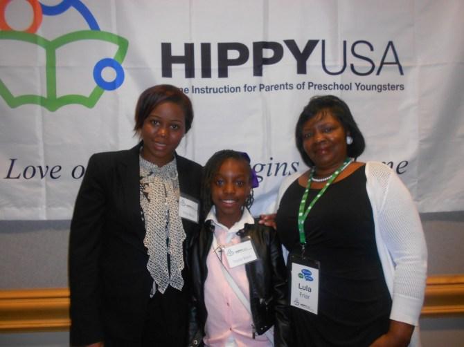 DC parent Erica Black, daughter Taylor and Lexington HIPPY Coordinator Lula Friar.