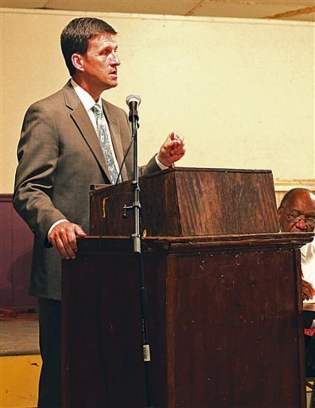 Speaking at the Greenwood Voters League Wednesday, Aug. 13, 2014, in Greenwood, Miss., Mississippi Higher Education Commissioner Hank Bounds said he's pushing lower tuition and land funding to upgrade facilities at Mississippi Valley State University. With some of the dormitories at MVSU crumbling and other parts of campus badly needing improvement, Bounds told the Voters League that the university needs significant help. In the meantime, Bounds said he was seeking about $3 million from the Legislature to drop per-semester tuition at least $1,000 in order to help attract and retain more students at the Itta Bena institution. The commissioner said turning around declining enrollment at Valley -- which has dropped in eight of the last nine years -- is the key to ensuring the future of the university. (AP Photo/The Greenwood Commonwealth, Bryn Stole)