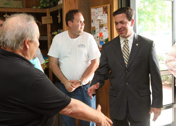 U.S. Senate candidate Chris McDaniel campaigns in Jackson County on June 16, 2014, during a meet and greet event at Catfish Point in Wade. (April Havens/ahavens@al.com)