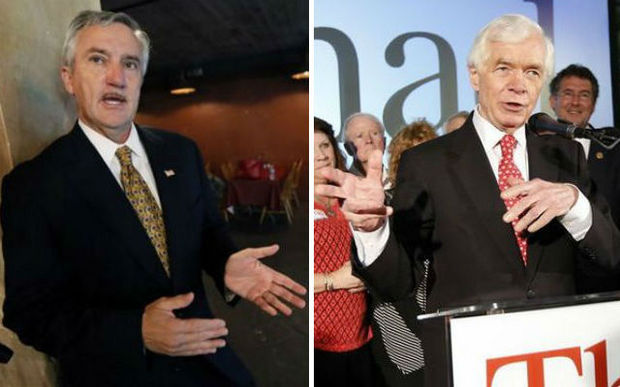 Republican U.S. Sen. Thad Cochran (right) and Democratic challenger Travis Childers. (The Associated Press)