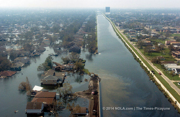 The 17th street canal breach, which formed during Hurricane Katrina, seen from the air on Sept. 3, 2005. (Photo by Brett Duke, NOLA.com | The Times-Picayune archive)