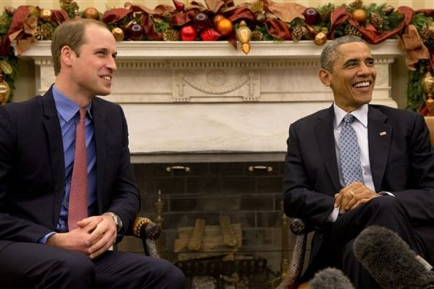 President Barack Obama meets with Britain's Prince William in the Oval Office of the White House in Washington, Monday, Dec. 8, 2014. (AP Photo/Jacquelyn Martin)