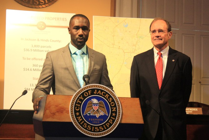 Yarber and Hosemann at press conference  PHOTOS BY AYESHA K. MUSTAFAA