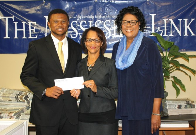 NNPAF scholarship recipient JSU junior Jeremy Anderson, The Mississippi Link publisher Jackie Hampton and Dr. Elayne J. Hayes-Anthony, director, JSU Mass Communications PHOTO BY AYESHA K. MUSTAFAA