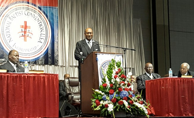 President Young addressing the National Baptist Convention in Memphis, Tenn. PHOTOS BY STAN CARROLL, THE COMMERCIAL APPEAL