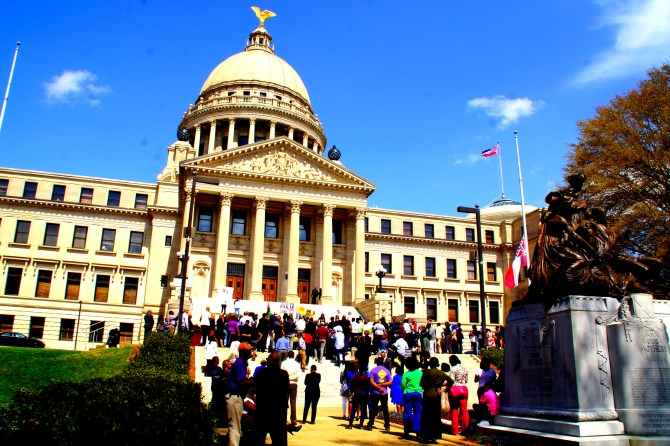 Supporters gather to rally in changing the Mississippi state flag Tuesday. PHOTO BY JAY JOHNSON