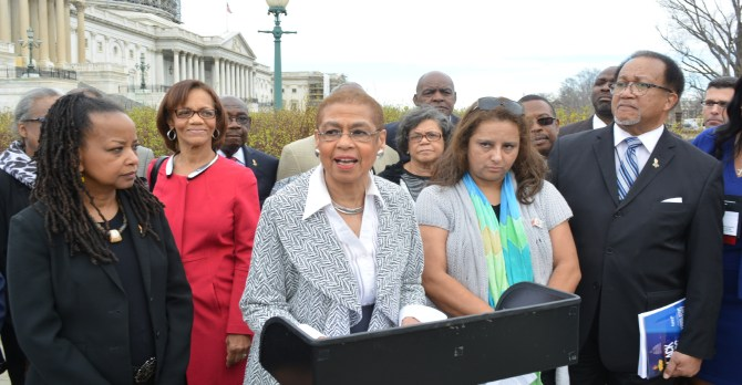 At a press conference on Capitol Hill earlier this year Congresswoman Eleanor Holmes Norton called on the U.S. Government Accountability Office to update its 2007 report on government spending with minority media publications. She was joined by leaders of the National Newspaper Publishers Association and National Association of Hispanic Publications. Freddie Allen/AMG/NNPA