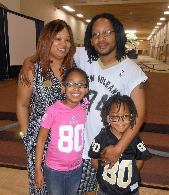 Keishawna and Sheldon Smith are shown with their children Trinitee, 9, and DeShawn, 6, who both have sickle cell anemia. photos by Stephanie R. Jones