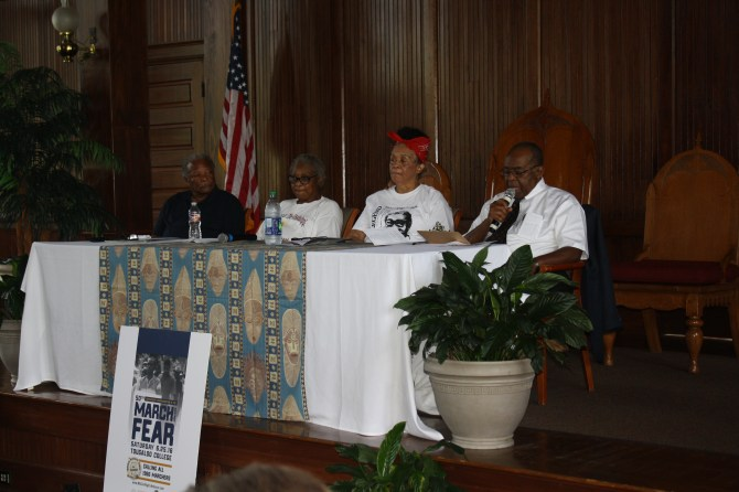 Panelists for the program at Tougaloo College were Charles McLaurin (from left), Annie Pearl Avery, Dorie Ladner and Dr. Robert Smith. PHOTO BY SHANDERIA K. POSEY
