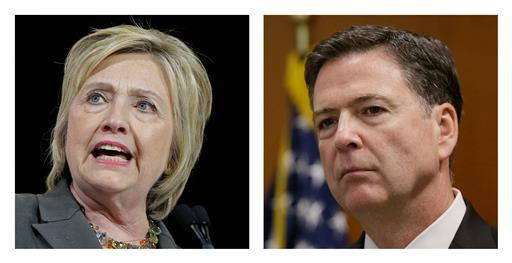 Former Secretary of State Hillary Clinton and FBI Director James Comey (AP file photos)
