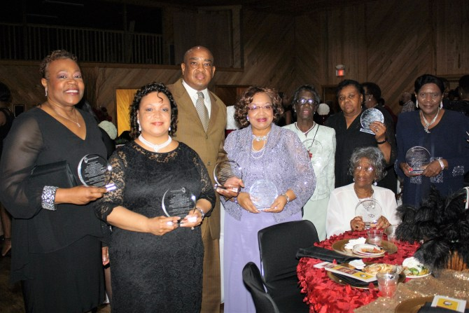 Founders of the Mississippi Sickle Cell Foundation are Kimberly Edwards (from left), Angela Brooks, George Brooks, Linda Hall, Luretha Moore, Catherine James, Joyce Berry, and Lottie Henry (seated).
