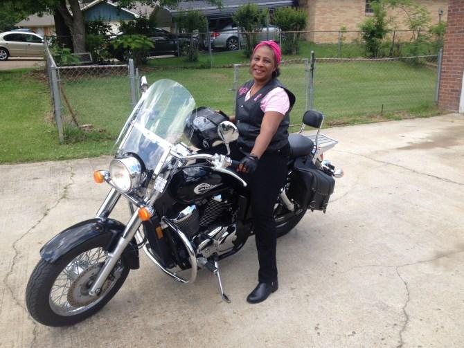 Vernessa Cheatham still enjoys riding her motorcycle.