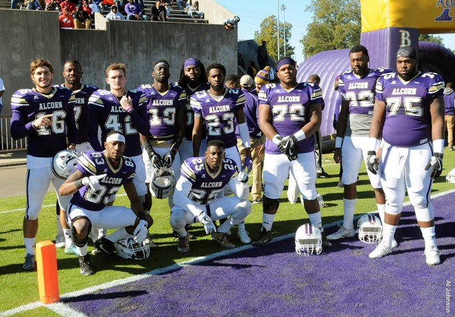 Alcorn State University seniors celebrated their last home game of the season with a win over Jackson State. PHOTO COURTESY ALCORN ATHLETICS