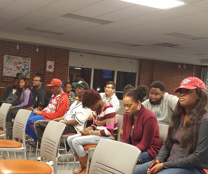Tougaloo College students watch Election Day results during the watch party. PHOTOs BY AYESHA K. MUSTAFA