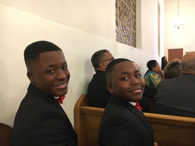 Carter Barnes (left) and Tobias Barnes, sons of new Deacon Jeremiah Barnes