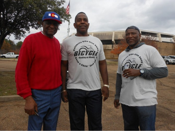 Jackson City Councilman Charles Tillman, retired NFL players Glen Collins and Jeffrey Moore at the annual Celebrity Bike Give Away. Photos by Stephanie R. Jones
